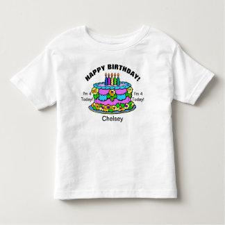 Happy Birthday Cake Girls YOUR NAME & AGE T-Shirt