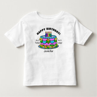 Happy Birthday Cake Girls YOUR NAME & AGE T-Shirt