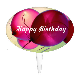 Happy Birthday Cake Pick - Pink Ballons