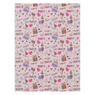 Happy birthday cake print tablecloth