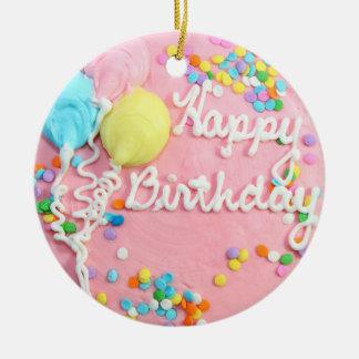 Happy Birthday Cake Round Ceramic Decoration