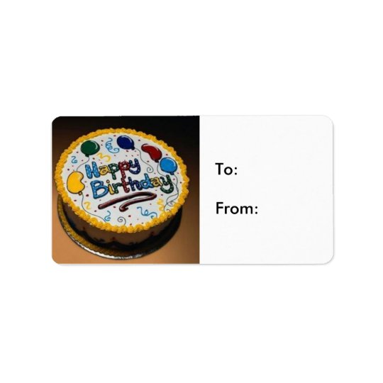 Happy Birthday Cake- To:From: Address Label