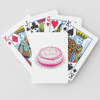 Happy birthday cake with pink frosting bicycle playing cards