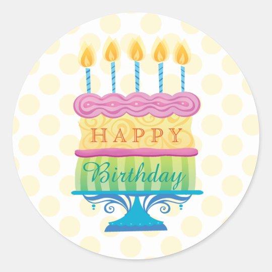 Happy Birthday Cake with yellow dots Round Sticker