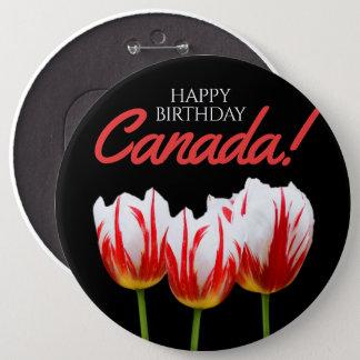 Happy Birthday Canada Day Maple Leaf Tulips 6 Cm Round Badge
