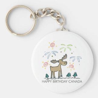 Happy Birthday Canada Basic Round Button Key Ring
