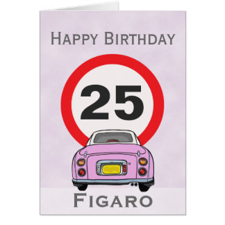 Happy Birthday Candy Pink Figaro Car Customisable Card