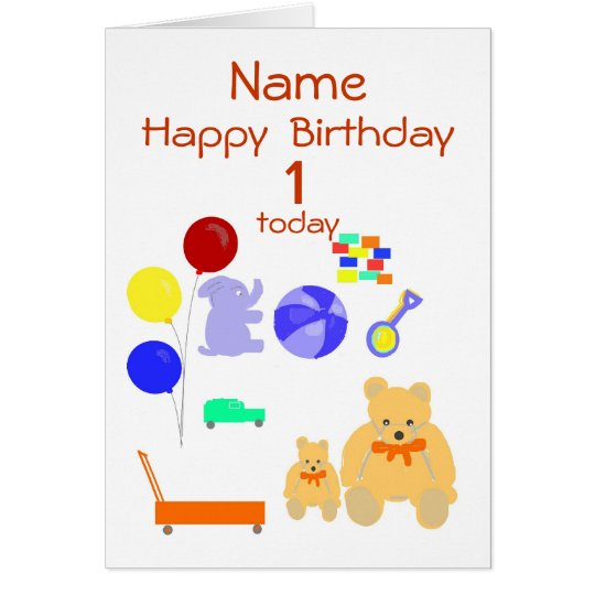 Happy Birthday Card 1 year old, Toys, Customise