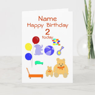 Happy Birthday Card 2 Year Old Toys Customize