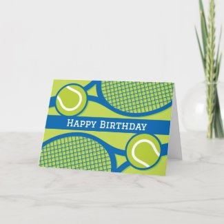Happy birthday card for tennis player or coach