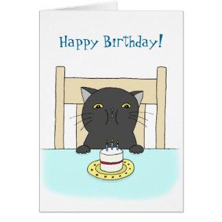 Happy Birthday Card Funny Black Cat Birthday Card