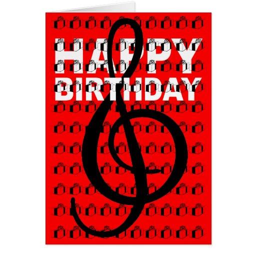 Happy Birthday Card G Clef Gift Box