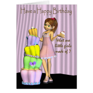 Happy Birthday Card little girl with a big cake an