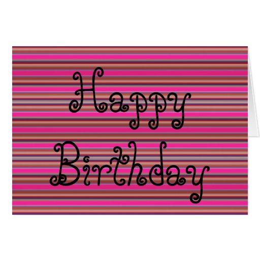 Happy Birthday Card Pattern Stripes Pink Neon