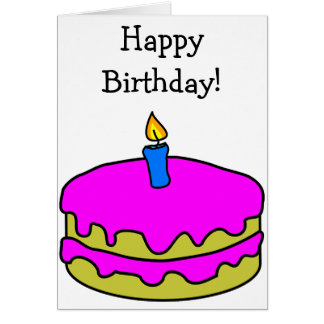 Happy Birthday Card: Pink Cake and blue Candle Greeting Card