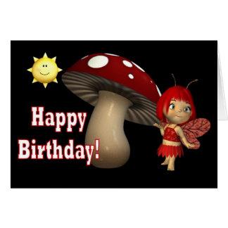 Happy Birthday Card Red Fairy mushroom with sun
