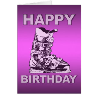 Happy Birthday Card Ski Boot Pink
