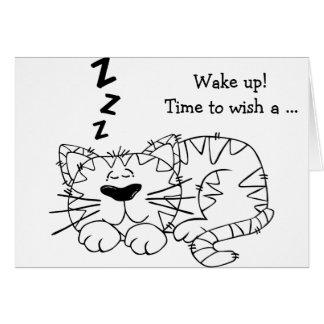 Happy Birthday Card: Sleeping Cat Card