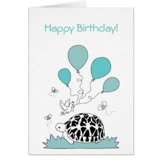 Happy Birthday Card (star tortoise blue balloons)