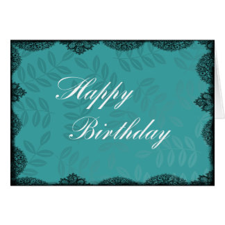 Happy Birthday Card - Teal Vintage Lace