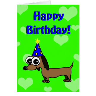 Happy Birthday Card w/ Cartoon Dachshund