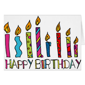Happy Birthday Card With Colourful Candles