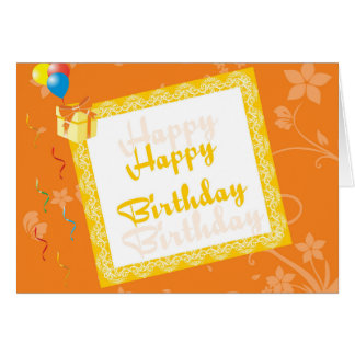 Happy Birthday Card With Orange Floral Background