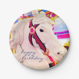 """Happy Birthday"" carousel horse photo paper plate 7 Inch Paper Plate"