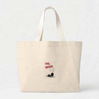 Happy Birthday - cartoon black cat Tote Bag
