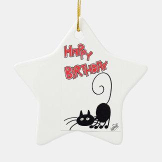 Happy Birthday - cartoon black cat Christmas Ornament