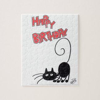 Happy Birthday - cartoon black cat Jigsaw Puzzle