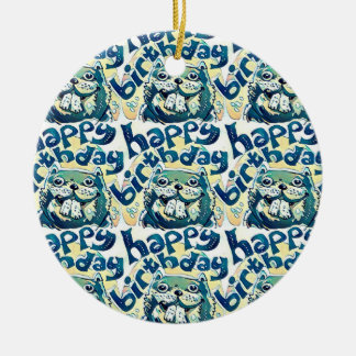 happy birthday cartoon style funny beaver round ceramic decoration
