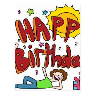 Happy Birthday Cartoon Text People Postcard