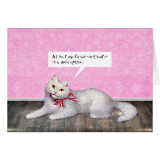 Happy Birthday Cat (Dog Years Option) Greeting Card
