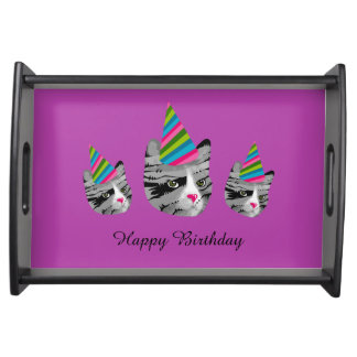 Happy Birthday Cat Serving Tray