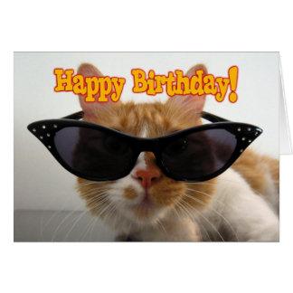 Happy Birthday - Cat Wearing Sunglasses Greeting Card