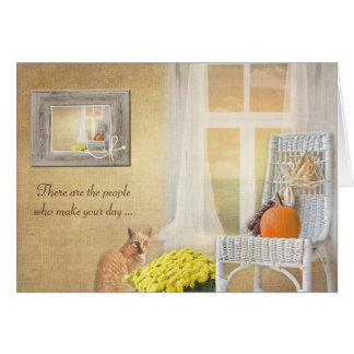 happy birthday-cat with autumn pumpkin and window card