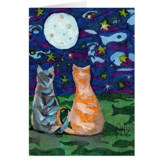 Happy Birthday Cats In Moonlight Card