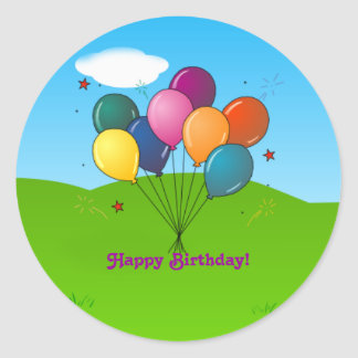 Happy Birthday! Celebration Balloons Classic Round Sticker
