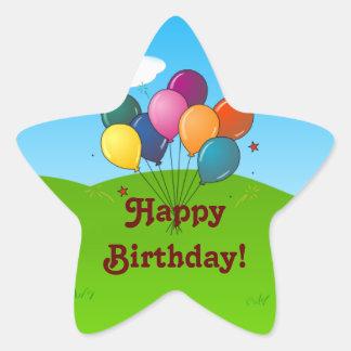 Happy Birthday! Celebration Balloons Star Sticker