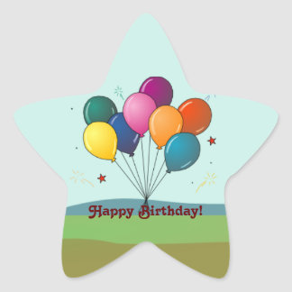 Happy Birthday! Celebration Balloons Star Sticker