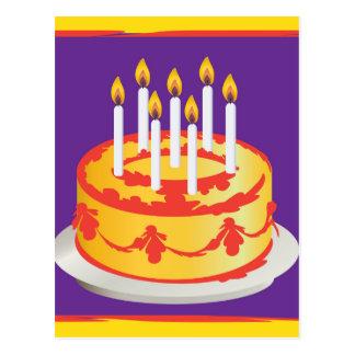 Happy Birthday! Celebration Yellow Birthday cake Postcard