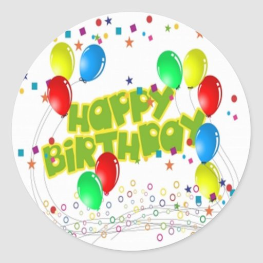 Happy Birthday Celebrations Round Sticker