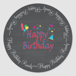 Happy Birthday Chalkboard Classic Round Sticker