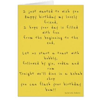 Happy birthday cheeky poem card