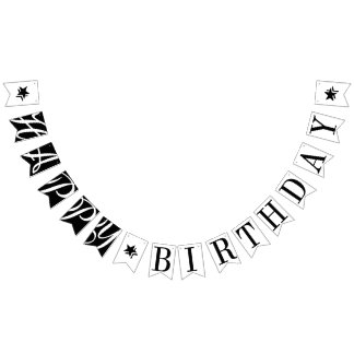 HAPPY BIRTHDAY Chic Black And White Bunting