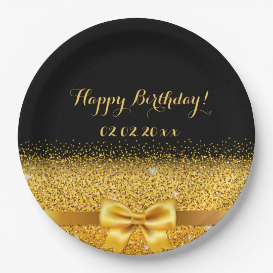 Happy Birthday Chic golden bow with sparkle black