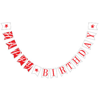 HAPPY BIRTHDAY Chic Red And White Bunting
