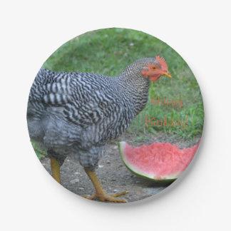 Happy Birthday Chicken Loves Watermelon Paper Plate