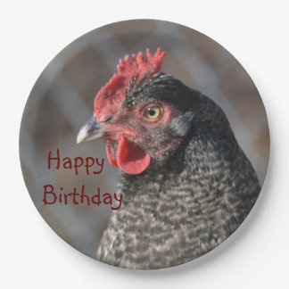 Happy Birthday Chicken Paper Plate